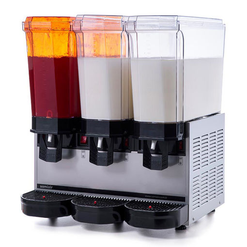 Picture of Samixir Classic Triple Cold Drink Dispenser, 20 + 20 + 20 L, Sprinkler-Mixer-Mixer, Inox