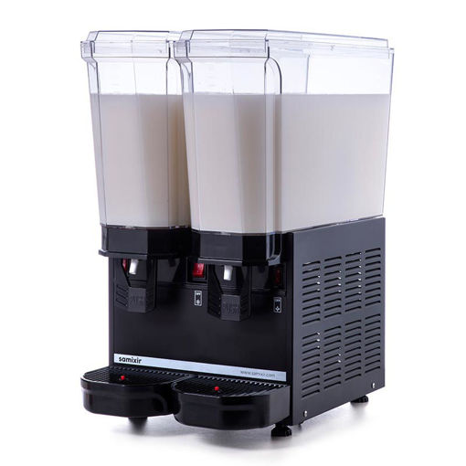 Picture of Samixir Classic Twin Cold Drink Dispenser, 20 + 20 L, Mixer, Black