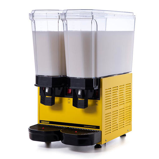 Picture of Samixir Classic Twin Cold Drink Dispenser, 20 + 20 L, Mixer, Yellow