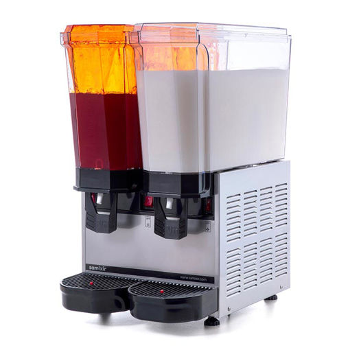 Picture of Samixir Classic Twin Cold Drink Dispenser, 20 + 20 L, Sprinkler and Mixer, Inox