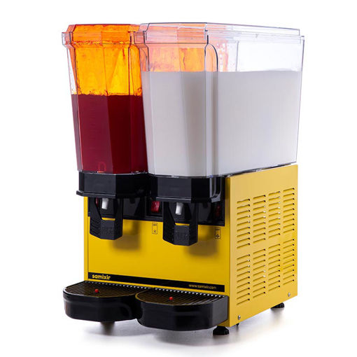 Picture of Samixir Classic Twin Cold Drink Dispenser, 20 + 20 L, Sprinkler and Mixer, Yellow