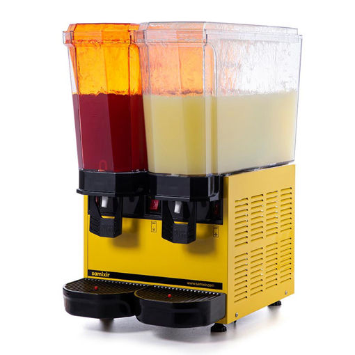 Picture of Samixir Classic Twin Cold Drink Dispenser, 20 + 20 L, Sprinkler, Yellow