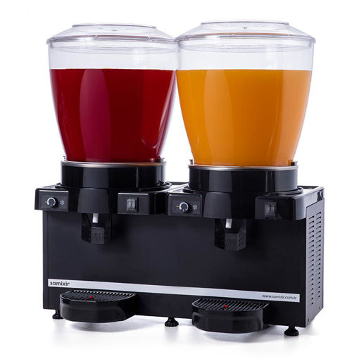 Picture of Samixir Twin Cold Drink Dispenser, 22 + 22 L, Panoramic, Analog, Mixer, Black