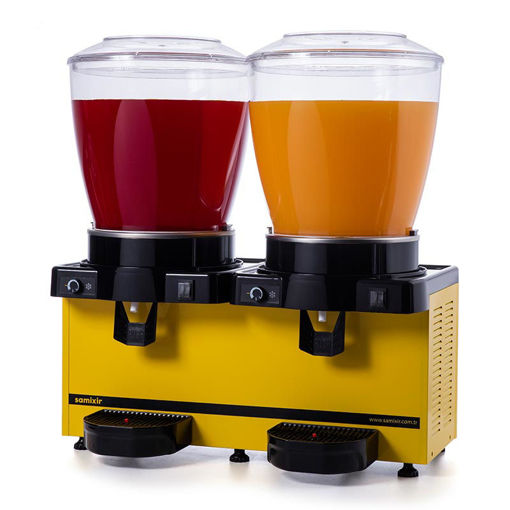 Picture of Samixir Twin Cold Drink Dispenser, 22 + 22 L, Panoramic, Analog, Mixer, Yellow