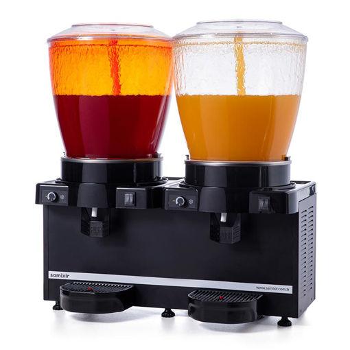 Picture of Samixir Twin Cold Drink Dispenser, 22 + 22 L, Panoramic, Analog, Sprinkler, Black